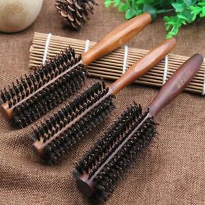 Round Wooden Hairdressing Boar Bristle Curling Styling Hair Comb Brush