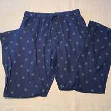 Mens Large Pajama Lounge Sleeping Pants Blue Old Navy Christmas Snow Flakes