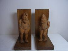 Vintage German Wood Carved Bookends Gnome #BD