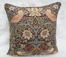 William Morris Fabric Cushion Cover 'Strawberry Thief' Chocolate/Slate - Cotton