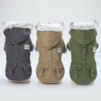 Dog Winter Coat with Fur Hood Small Pet Winter Clothes Jacket Apparel Beagle Pug