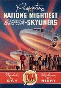 Vintage TWA Airlines travel fine art prints set of 2 Kerne Erickson- LAST SET