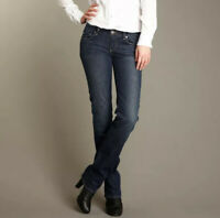 Paige Melrose Size 26 (2) Straight Leg Mid Rise Jeans Stretch Denim Dark Wash