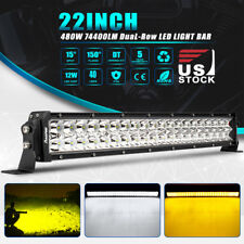 "22""inch 480W OSRAM LED Work Light Bar Fog Combo Dual Color Offroad Truck Driving"