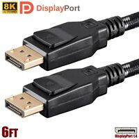 6FT DisplayPort DP 1.4 Male to Male Cable Braided 8K 60Hz HBR3 32.4Gbps HDR PC