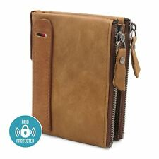eb395fc7624 Mens Luxury Soft Genuine Leather RFID Blocking Card Wallet Zip Cash Coin  Pocket