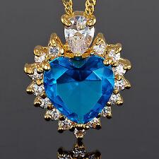Lady Fashion Jewelry **Heart Cut Aquamarine Topaz Gold Tone Pendant Necklace