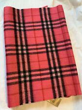 New Auth Burberry Women Unisex Pink Cashmere Scarf  Nova Check Plaid Logo $495