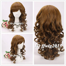 Doctor Who Amy Pond Cosplay Wig Long Wavy Curly Brown Hair Full Wigs +a wig cap