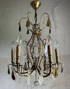 Antique French 6 Arm Chandelier. Gilt Frame, Amber Crystals. Fine Quality.