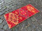 Handmade rug, Bohemian rug, Turkish vintage rug, Small rug | 1,4 x 3,0 ft