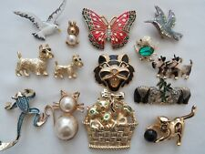 Vintage Gold Silver Tone Enamel Crystal Animal Brooch Pin Lot Gerry's