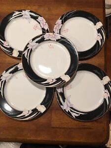 "Mikasa CHARISMA BLACK Salad plate set of 5, 7 1/2"", L9050, Floral, Excellent"