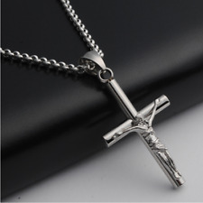 "24"" Men Stainless Steel Silver Cross Pendant Necklace Cuban Chain Jesus Crucifix"