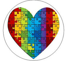 """PUZZLE HEART Autism Awareness - 1"""" Round Stickers"""