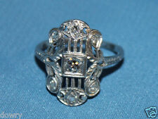 vtg 20s ANTIQUE SOLID PLATINUM DIAMOND ART DECO FILIGREE RING SIZE 8 handmade