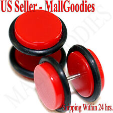 "2054 Red Color Fake Cheater Illusion Faux Ear Plugs 16G Bar 1/2"" = 12mm - 2pcs"