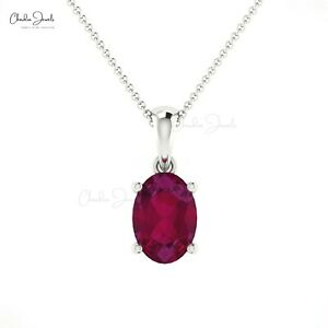 Gorgeous Faceted Natural Solitaire 7X5MM Oval Ruby Pendant In 14K White Gold