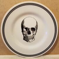 "Set of 4 Royal Stafford Skull 8.5"" Salad Dessert Plate Halloween Black Skeleton"