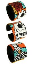 BR600 Artisan Glass Bead Day of the Dead Wide Bracelet Skull Cuff Katrina Zombie