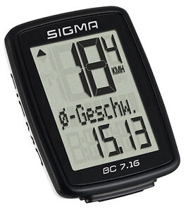 Sigma BC 7.16 kabelgebundener Fahrradcomputer 7 Funktionen Tacho- 07160