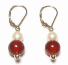 Genuine White & Pearl Red Jade 14K Gold Filled Lever Back Earrings