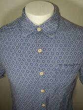 Nat Nast medium blue geometric short sleeve button down shirt rayon