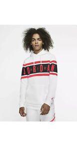 Jordan Air Men's Fleece Jumpman Taped Hoodie  in White, Size: 3XL