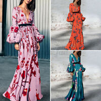 Women Puff Sleeve Floral Vintage Holiday Evening Dresses V Neck Sexy Long Dress