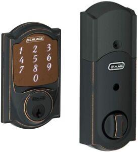 NEW Schlage Sense Camelot Aged Bronze Smart Door Lock Deadbolt BE479AACAM716