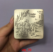 Old China antique White copper character pattern Square Ink cartridge