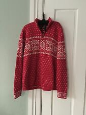 Lands End Classic snowflake red cottonmed 10-12 Comfy Warm Sweater pretty