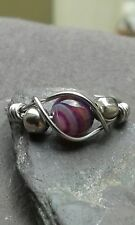 Handmade Natural Purple Stripped Agate Silver Wire Wrap Ring ANY SIZE