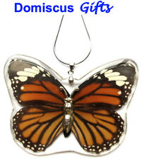 New! Real Insect Monarch Butterfly Silver Necklace Jewelry Pendant Striped Tiger