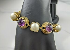 Lovely Vintage Jewellery Gold-tone Faux Pearl and Amethyst Bracelet