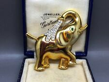 Vintage Cabouchon Gold Plated Crystal Elephant Brooch