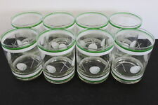 Vintage Set 8 CULVER Golf Theme Tumbler Drinking Glasses White Green Graphics