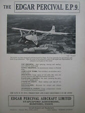 8/1956 PUB EDGAR PERCIVAL AIRCRAFT EP.9 AVION FLUGZEUG AG BUSH ORIGINAL AD
