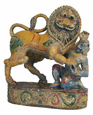 Antique Rajasthani Lion & Hunter - Hand Carved & Painted - India - 19th Century
