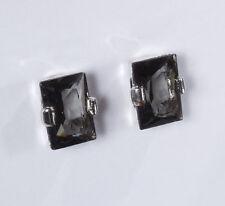Paar Ohrclips Ohrschmuck silber graue XXL Glas Strass Steine black diamond Trend