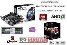 SCHEDA MADRE ASROCK FM2+ USB + CPU AMD A6 X2 DUAL CORE 3,80 GHZ + RAM 4GB DDR3