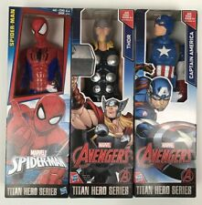 "Marvel Captain America Spider-Man Thor Titan Hero Series 12"" Action Figures New"