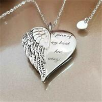 Letter A Piece of My Heart Has Wings  Whisper In My Heart Angel-Necklace Hot -UK