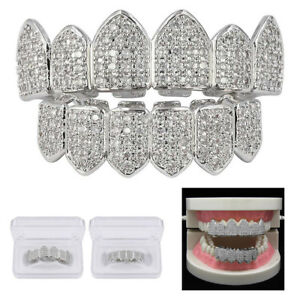 2X Silver Plated Bling Bling Cubic Zirconia Top & Bottom Grillz Mouth Teeth USA