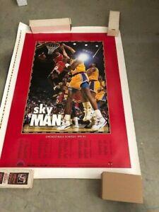 1991-92 CHICAGO BULLS SCHEDULE POSTER MICHAEL JORDAN SKY MAN