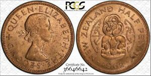 1962 NEW ZEALAND HALF PENNY PCGS MS64RD TONED COIN HIGH GRADE TEN GRADED HIGHER
