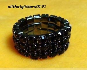 Stunning 3 Row Black Crystal / Diamante Elasticated Ring