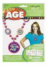 Amscan Dots And Stripes Customizable Add An Age Bead Party Necklace Gift