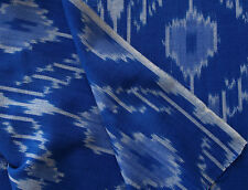 """Blue Floral Cotton Ikat. Hand-Woven & Hand-Dyed, India, Homespun 44"""" wide"""
