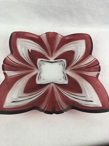 "Crystal Ruby Red Cut Fifth Avenue Aurora Soga Japan Square Plate Dish 11"" X 11"""